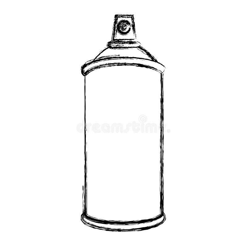 envase de la botella del espray de aerosol de la silueta del bosquejo ilustración del vector