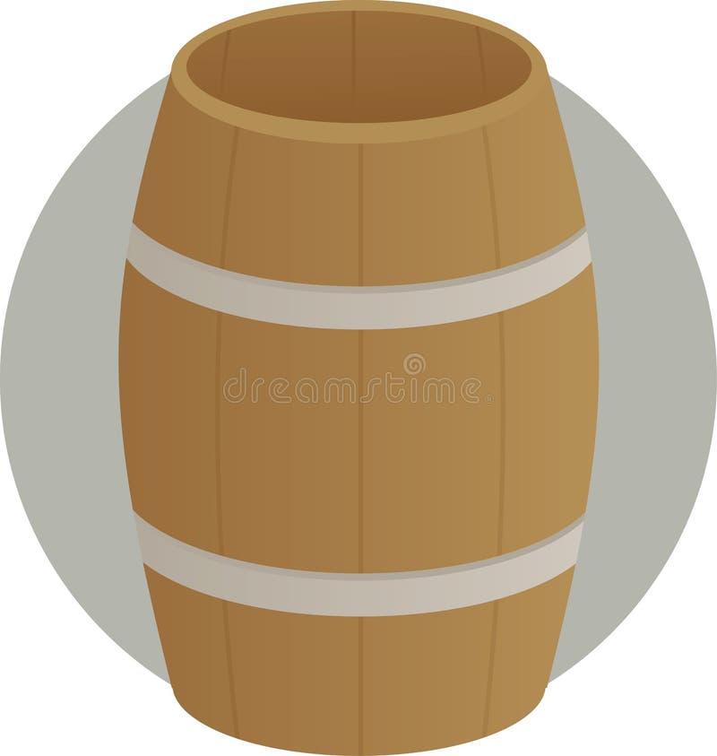 Envase de madera del tambor del barril stock de ilustración