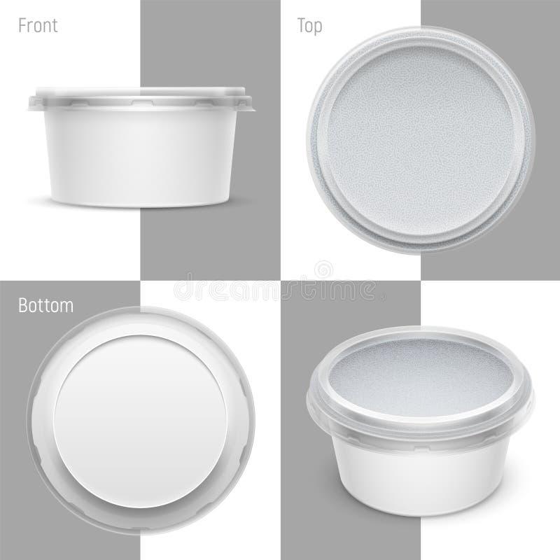 Envase de plástico blanco de la ronda del vector con la hoja y la tapa transparente Ejemplo de empaquetado de la plantilla ilustración del vector