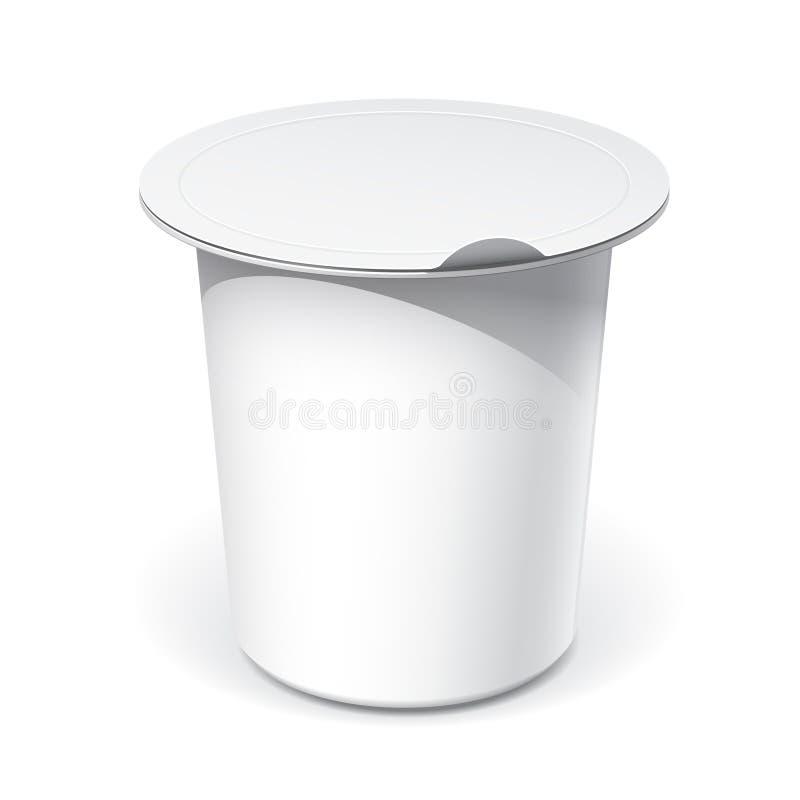 Envase de plástico en blanco blanco realista para la comida libre illustration