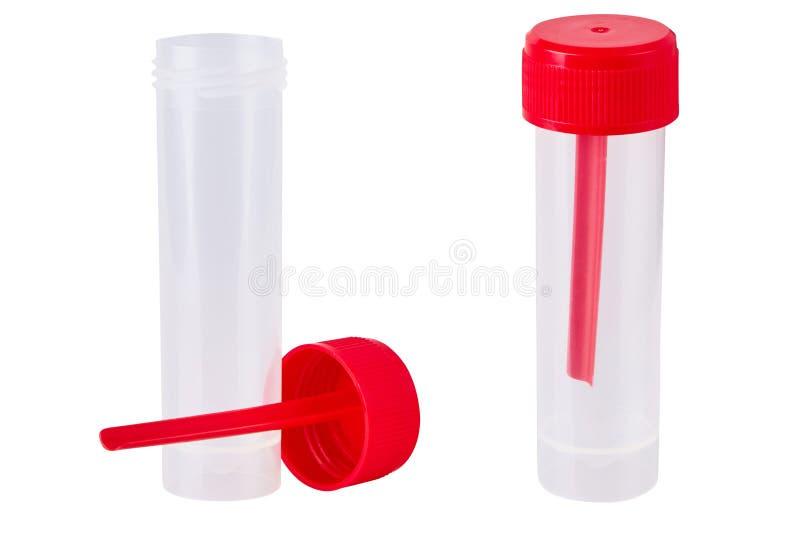 Envase de plástico en blanco transparente estéril para el análisis imagenes de archivo