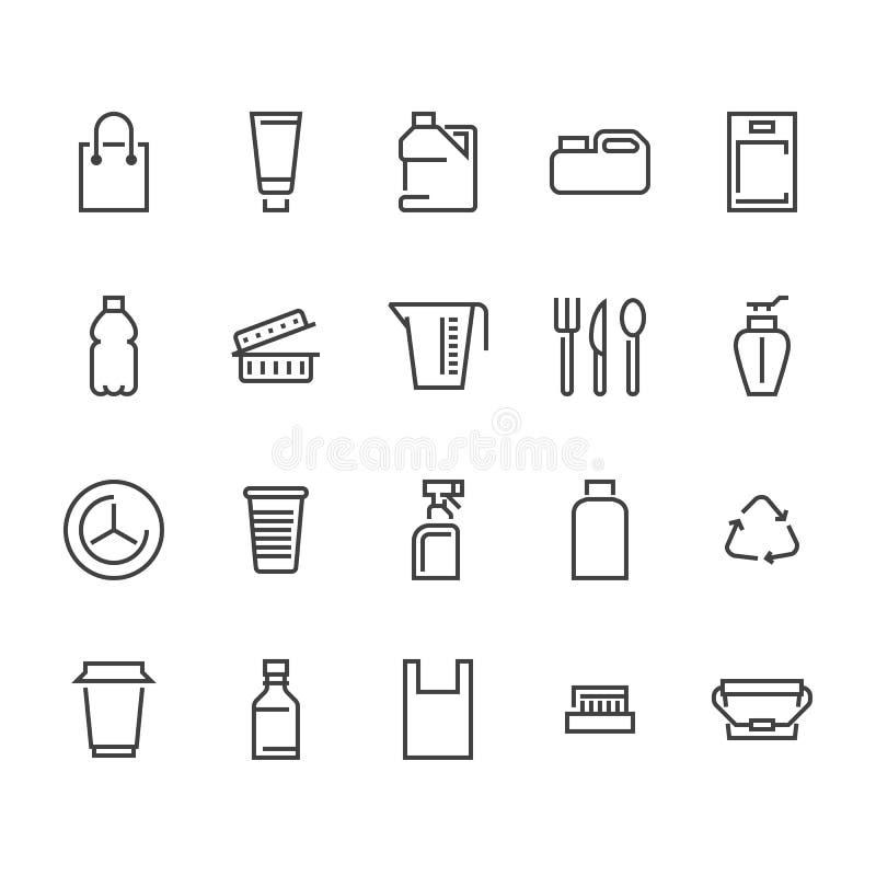 Envase de plástico, línea disponible iconos del vajilla El producto embala, envase, botella, bote, envase de los cubiertos de las ilustración del vector