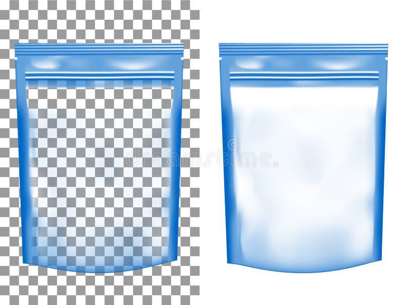 Envase de plástico vacío transparente con la cremallera Sach en blanco de la hoja ilustración del vector