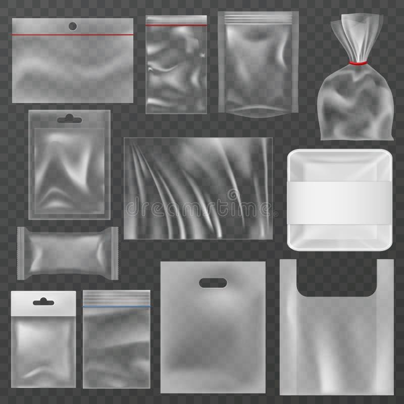 Envase de pl?stico Paquetes plásticos, envases de comida y bolsos de vacío transparentes Bolsa del abrigo del polietileno, paquet libre illustration