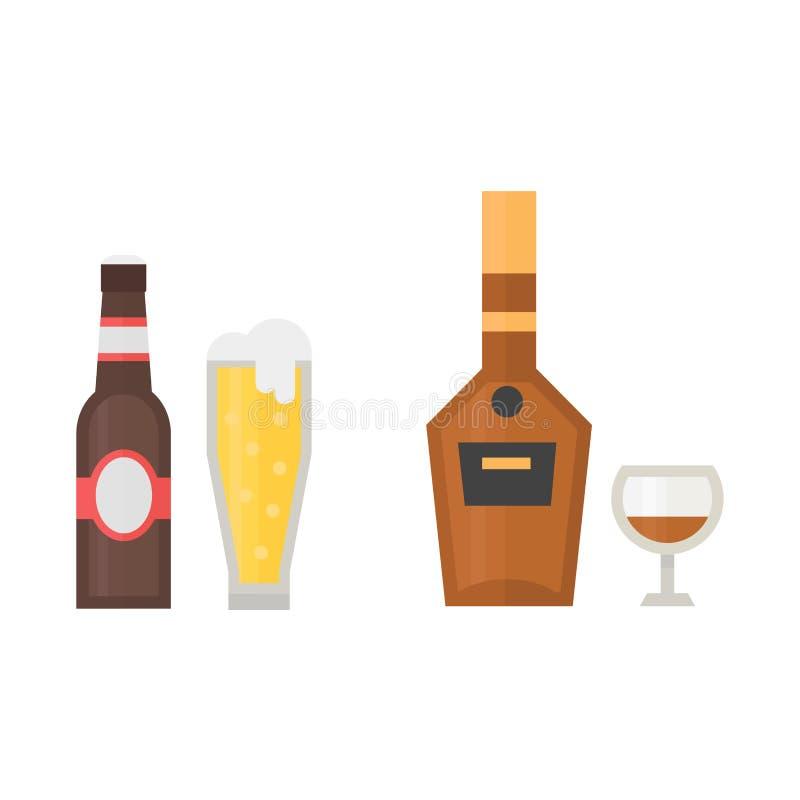 Envase del refresco de la cerveza dorada de la botella de la bebida del whisky del cóctel de las bebidas de las bebidas de la cer stock de ilustración