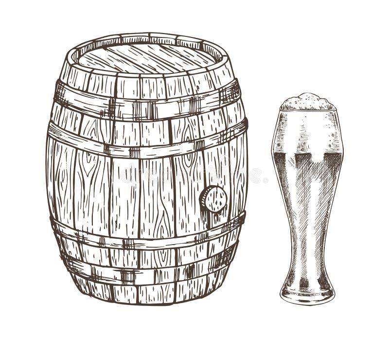 Envase del roble y vidrio de Ale Graphic Art espumoso stock de ilustración