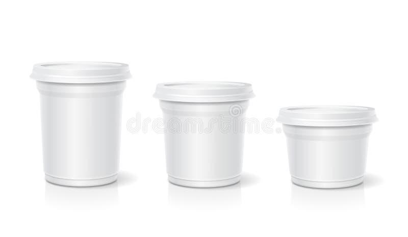 Envase en blanco blanco para el postre, yogur, helado, sistema del vector stock de ilustración