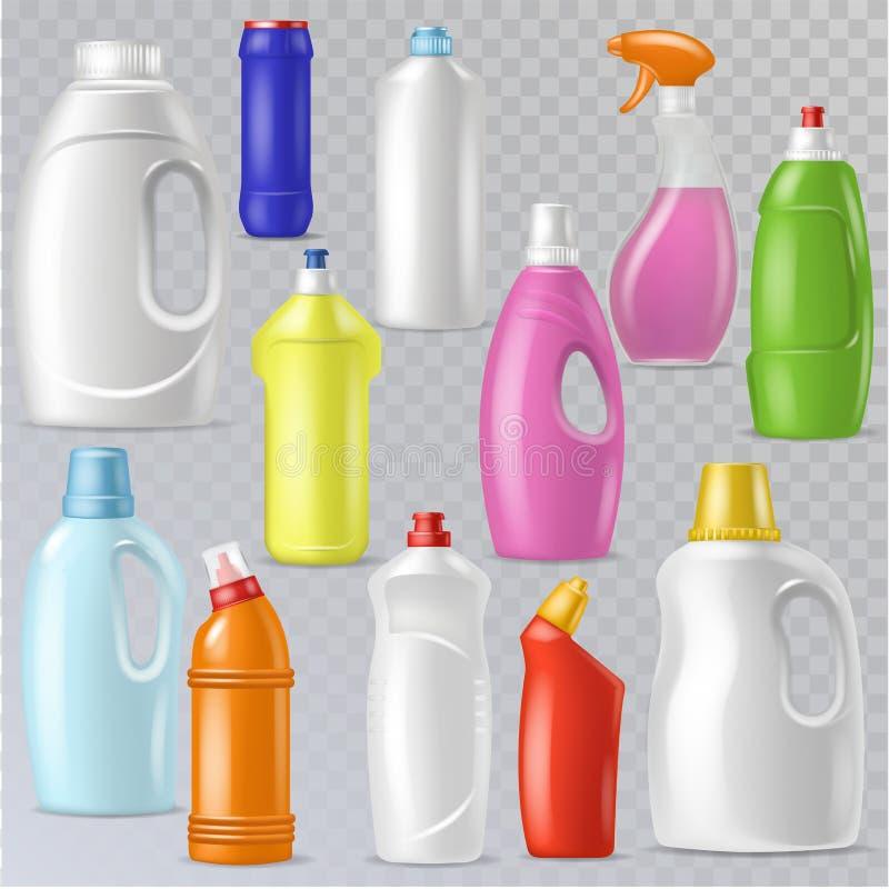 Envase en blanco plástico del vector detergente de la botella con el líquido del poder limpiador y producto del limpiador del hog stock de ilustración