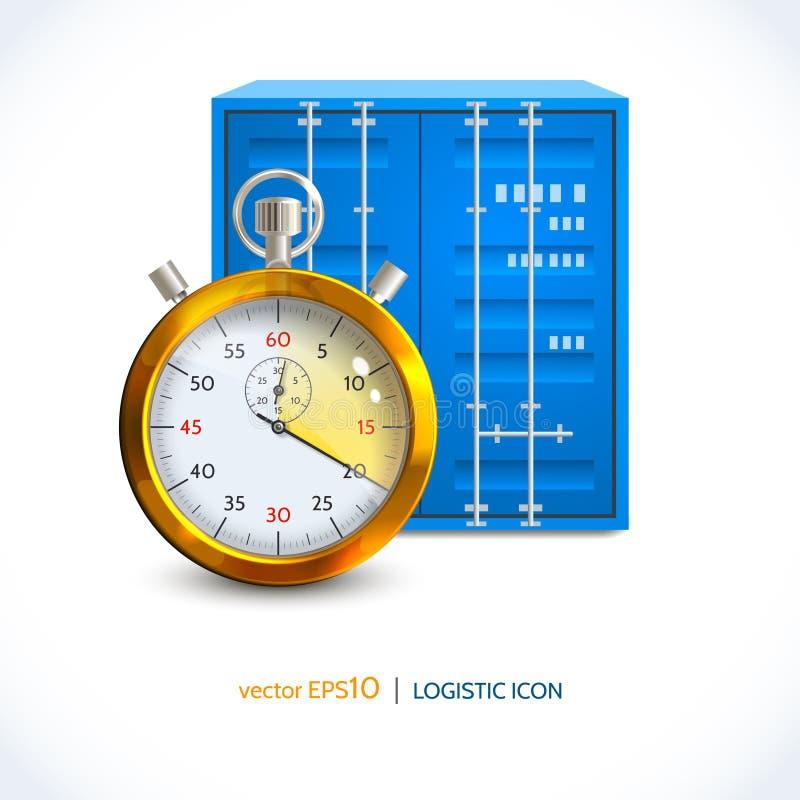 Envase logístico del gancho de la grúa del icono ilustración del vector