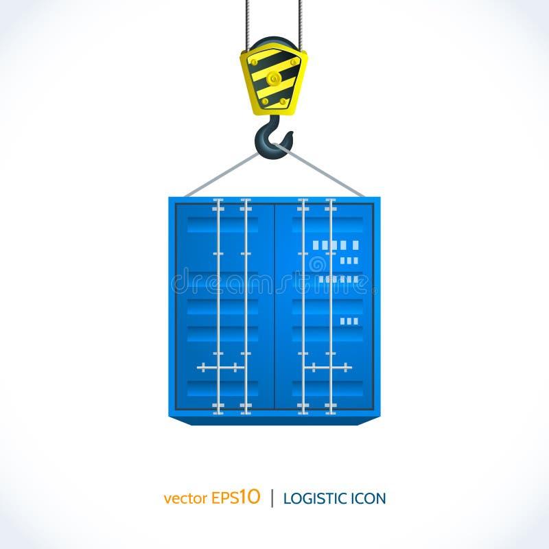 Envase logístico del gancho de la grúa del icono libre illustration