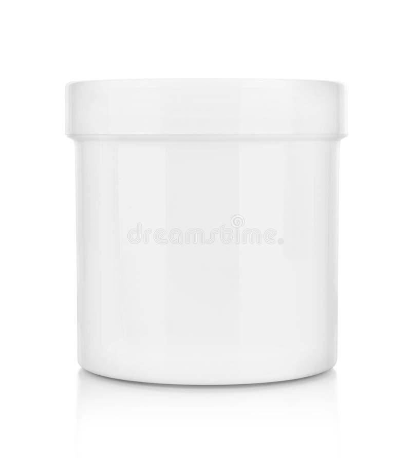 Envase médico plástico blanco para las píldoras aisladas imagen de archivo libre de regalías