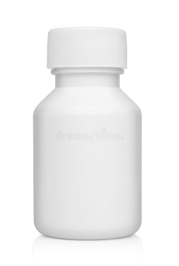 Envase médico plástico blanco para las píldoras aisladas fotografía de archivo libre de regalías