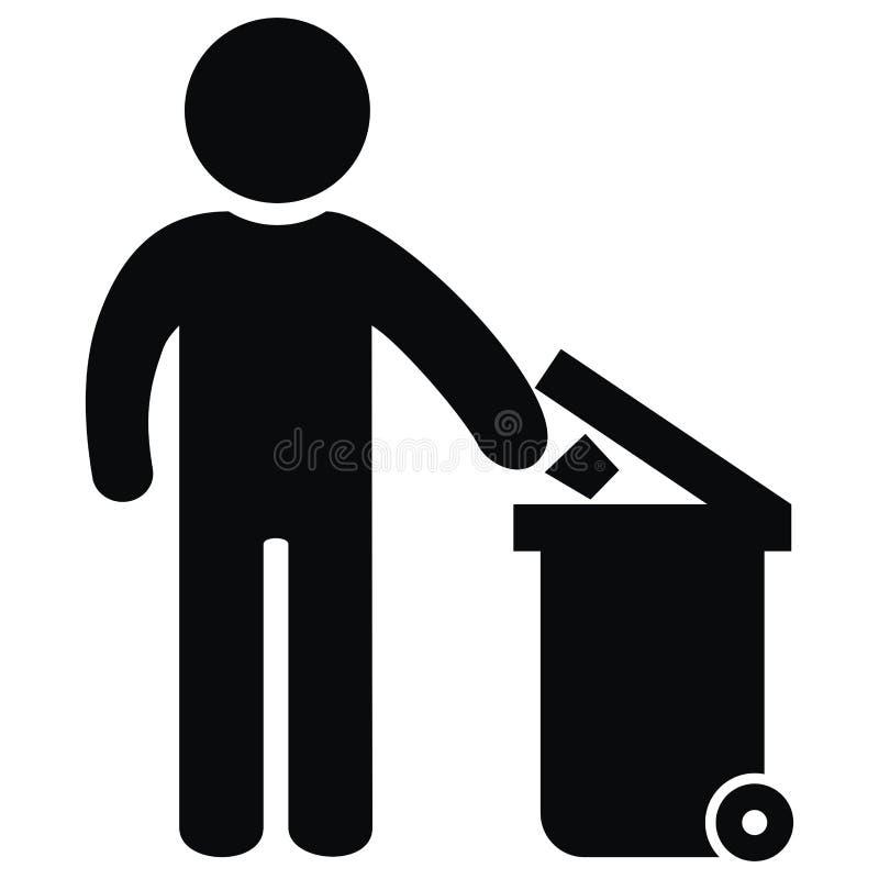 Envase para la figura y el bote de basura inútiles, negros, icono del vector stock de ilustración