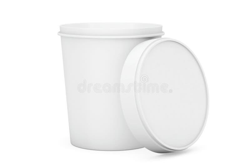 Envase plástico del cubo de la tina de la comida blanca para el postre, yogur, hielo stock de ilustración