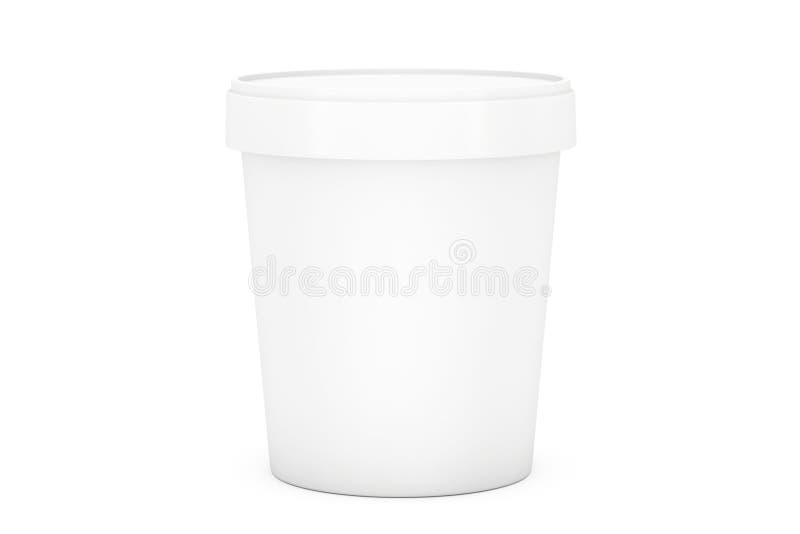 Envase plástico del cubo de la tina de la comida blanca para el postre, yogur, hielo foto de archivo