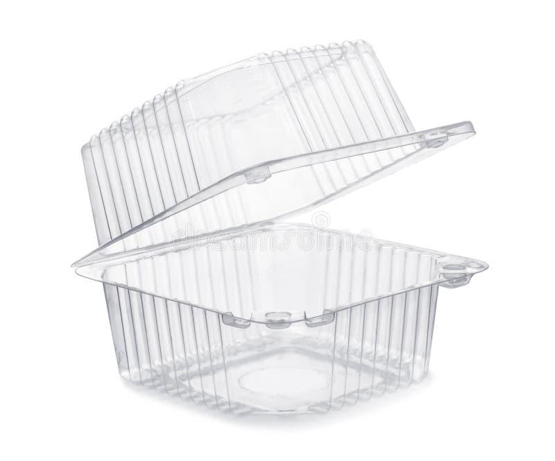 Envase plástico transparente vacío abierto de comida fotografía de archivo libre de regalías