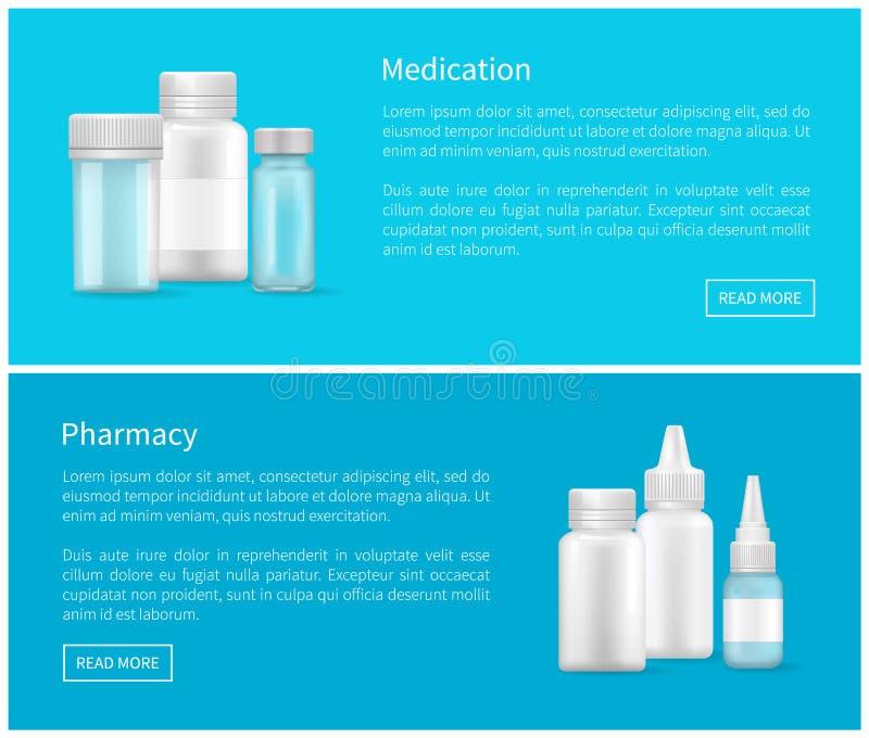 Envase vacío de la bandera del web de la medicación y de la farmacia stock de ilustración
