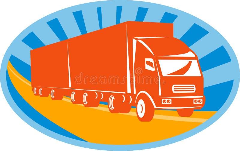 Envase van truck y acoplado ilustración del vector