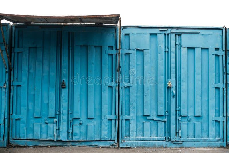 Envases azules del buque de carga fotografía de archivo