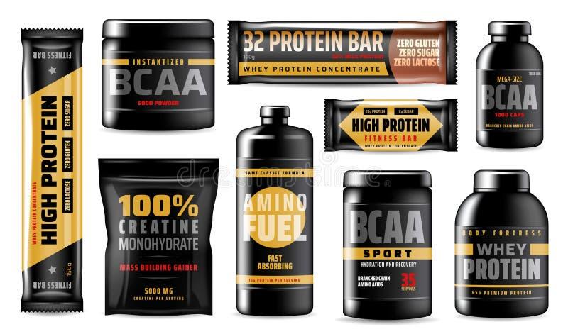 Envases de la proteína, suplementos de la comida del deporte de BCAA stock de ilustración