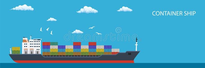 Envases de transportes de la nave del contenedor para mercancías libre illustration