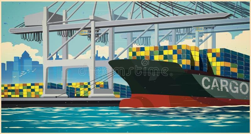 Envases del cargamento en el cartel retro de portacontenedores stock de ilustración