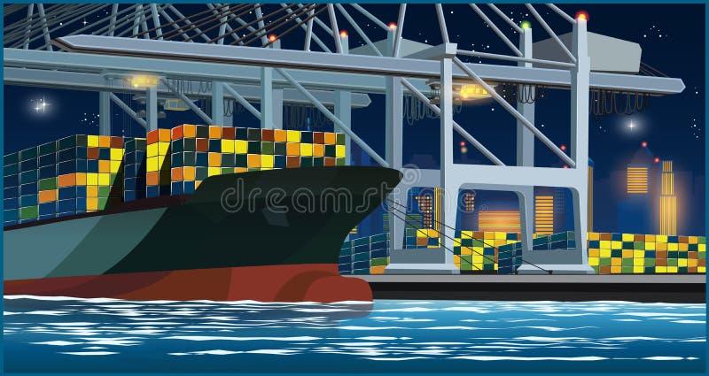 Envases del cargamento en el puerto en la noche stock de ilustración