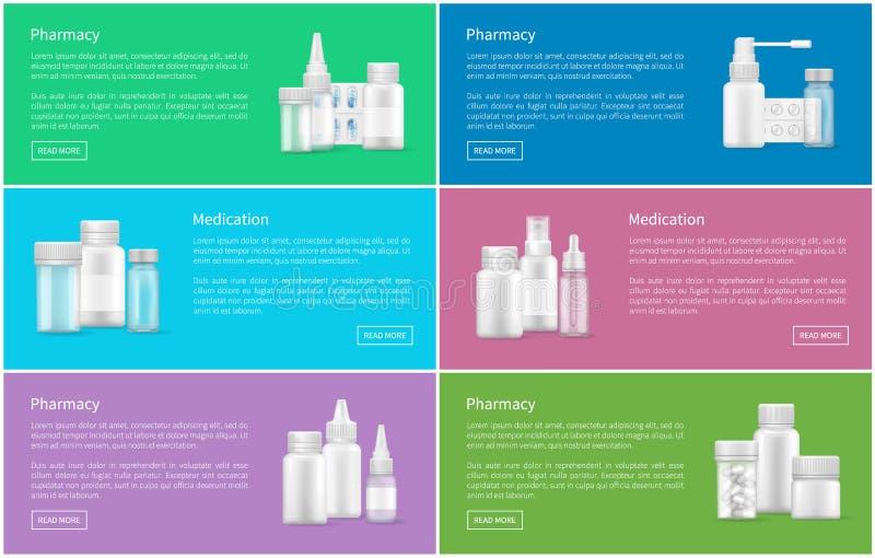 Envases determinados de los carteles del web de la farmacia y de la medicación libre illustration