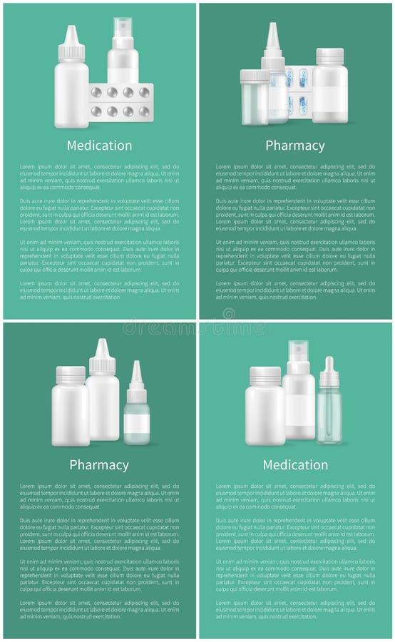 Envases determinados de los carteles del web de la farmacia y de la medicación stock de ilustración