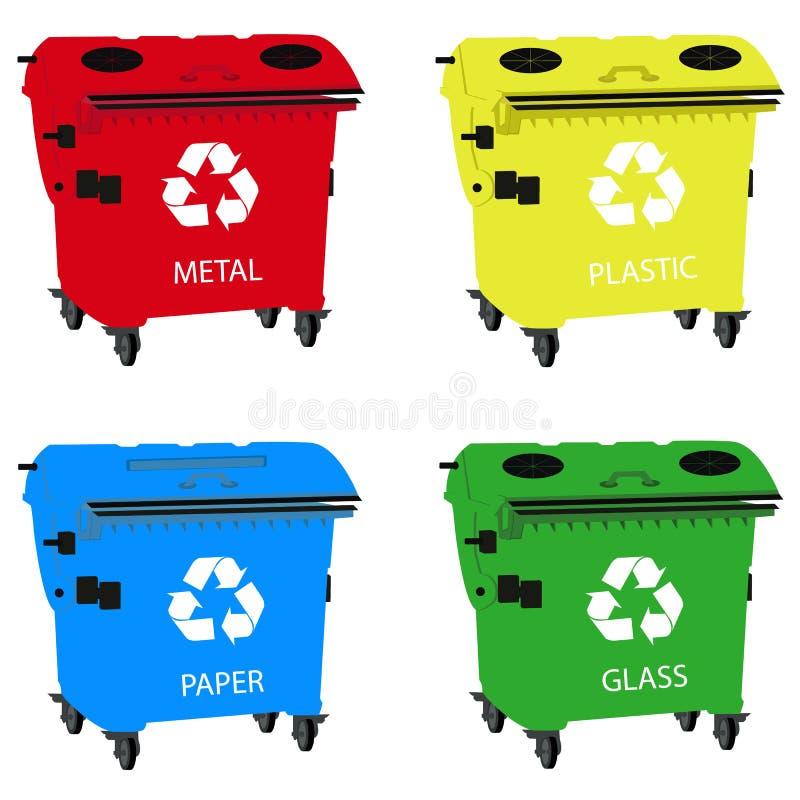 Envases grandes para reciclar la basura que clasifica, papelera de reciclaje fotografía de archivo