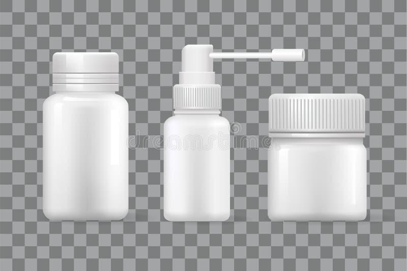 Envases médicos en blanco para las cápsulas y el rociador ilustración del vector