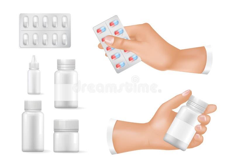 Envases vacíos para las medicinas en las manos humanas fijadas ilustración del vector