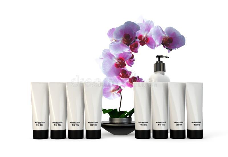 Envases y productos del balneario con la orquídea fotografía de archivo