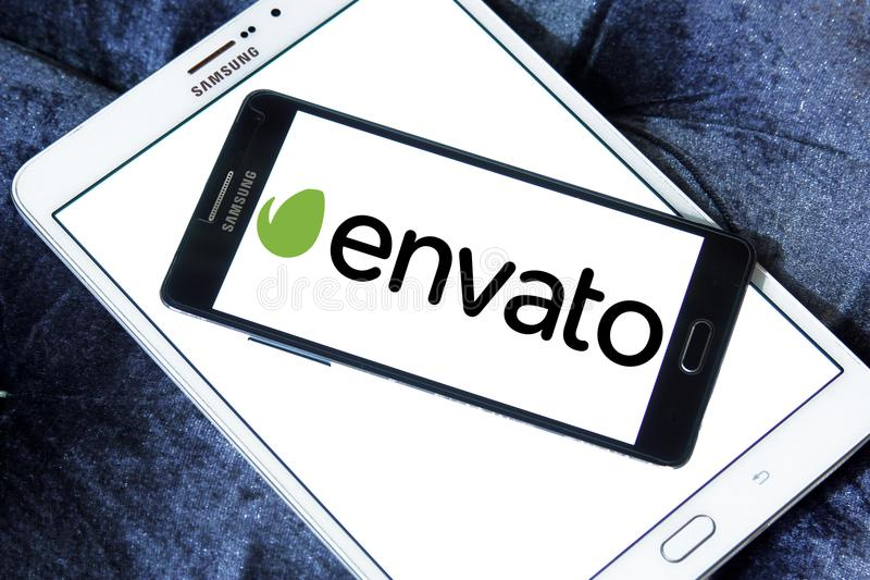 Envato company logo. Logo of Envato company on samsung mobile. Envato operates a group of digital marketplaces that sell creative assets for web designers stock image