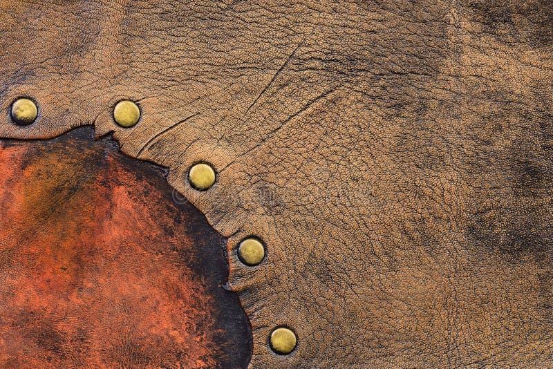Envejecido dos diversas porciones de cuero se unió a con los remaches de cobre amarillo foto de archivo