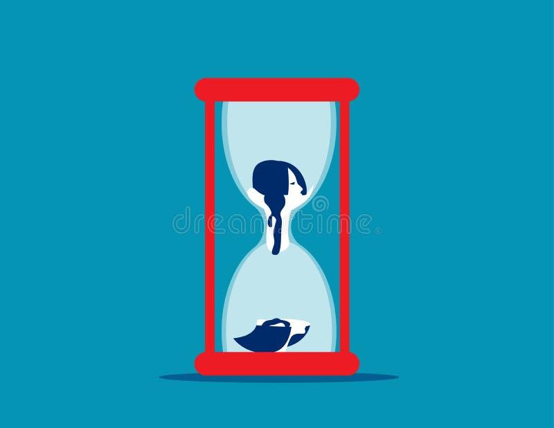 Envejecimiento principal de la mujer tan vierte en la parte inferior del reloj de arena Ejemplo del vector del negocio del concep ilustración del vector