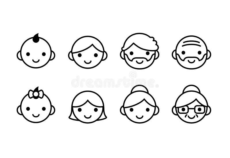 Envelhece ícones ilustração stock