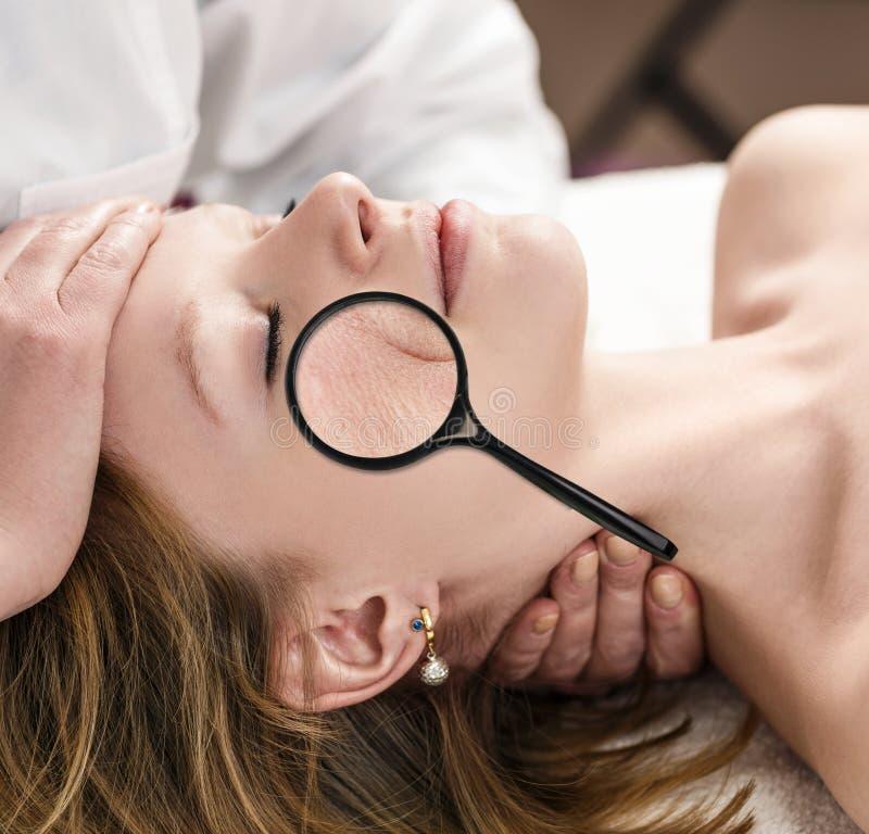 Envelhecimento da pele do conceito da beleza imagens de stock