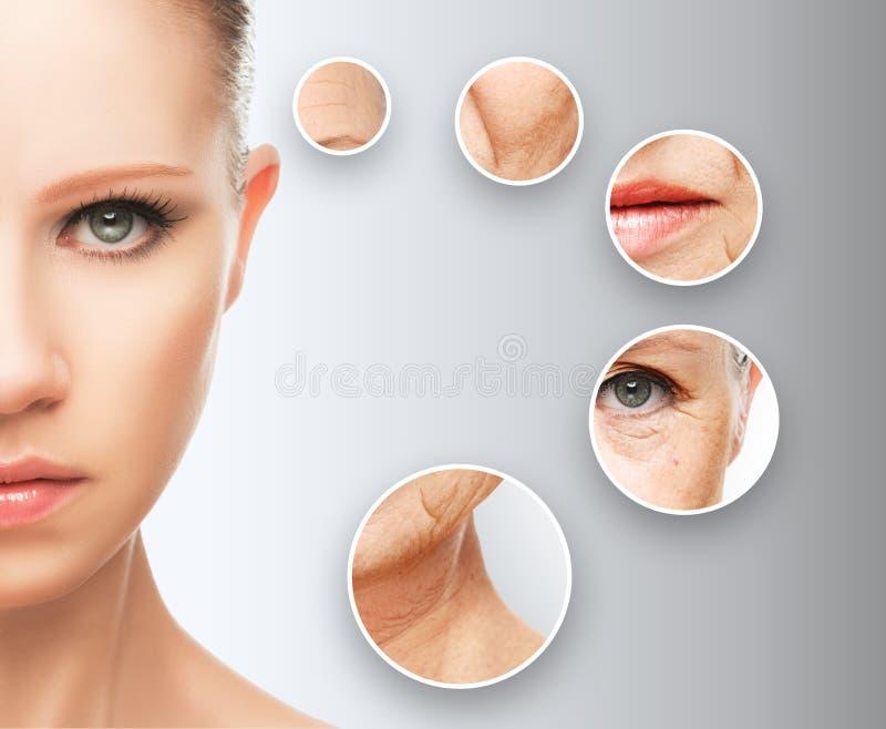 Envelhecimento da pele do conceito da beleza procedimentos antienvelhecimento, rejuvenescimento, levantando, aperto da pele facia fotos de stock royalty free
