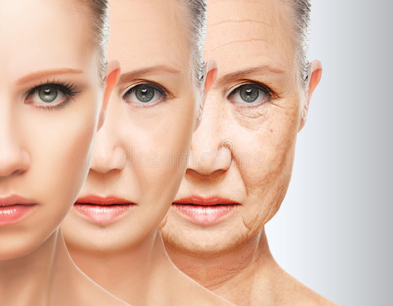 Envelhecimento da pele do conceito da beleza procedimentos antienvelhecimento, rejuvenescimento, levantando, aperto da pele facia fotos de stock