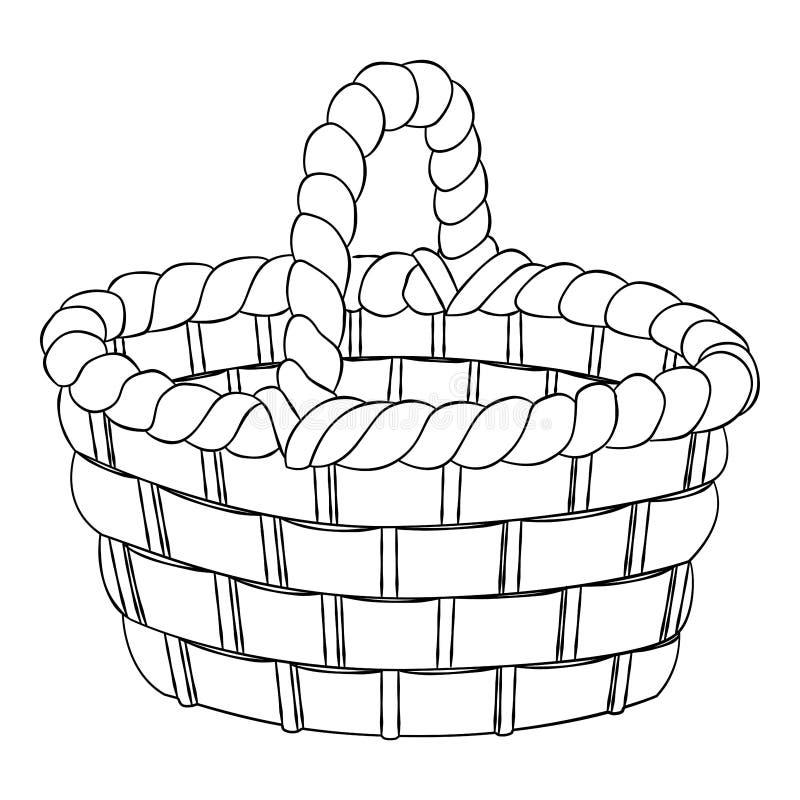 Envelhecimento da vassoura-de-bico-velho, cesto isolado em fundo branco - desenho de Vetor desenhado à mão ilustração stock