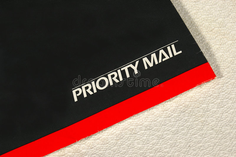 An envelop. A colorful envelop for priority mail stock photography