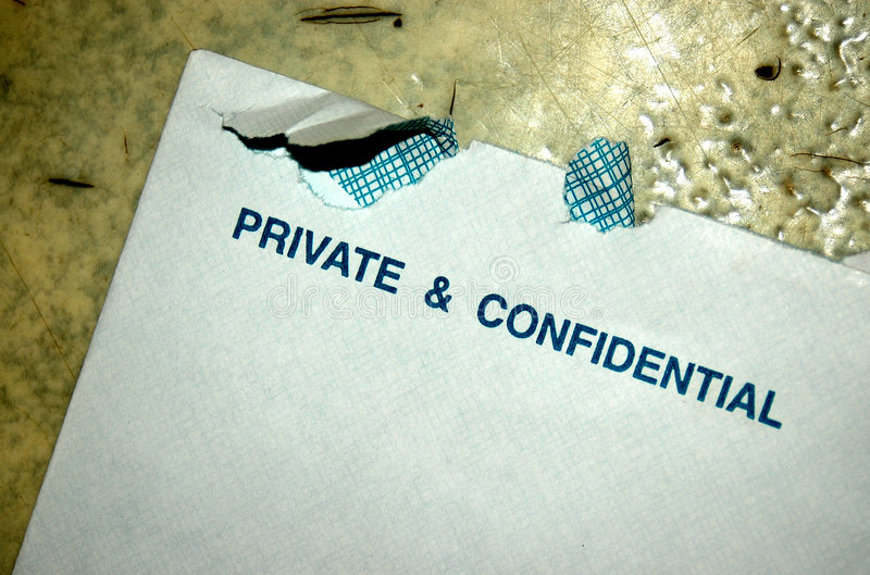 Envelop. An opened white envelop which is private and confidential royalty free stock images