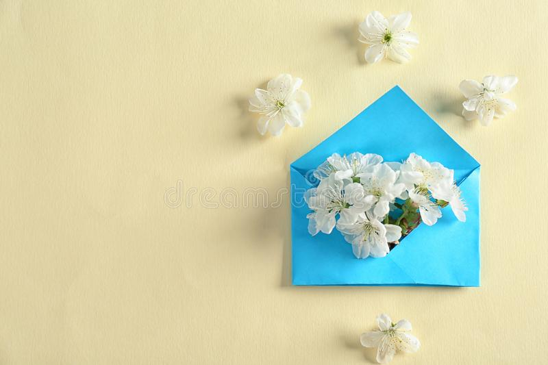 Envelop and blossoming spring flowers on color background stock photography