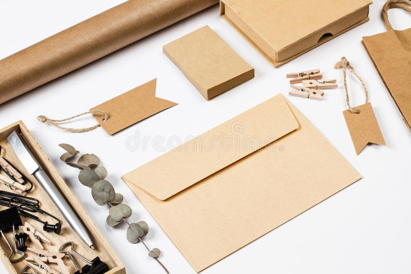 Envelop, boxes, labels and other office stuff stock photo