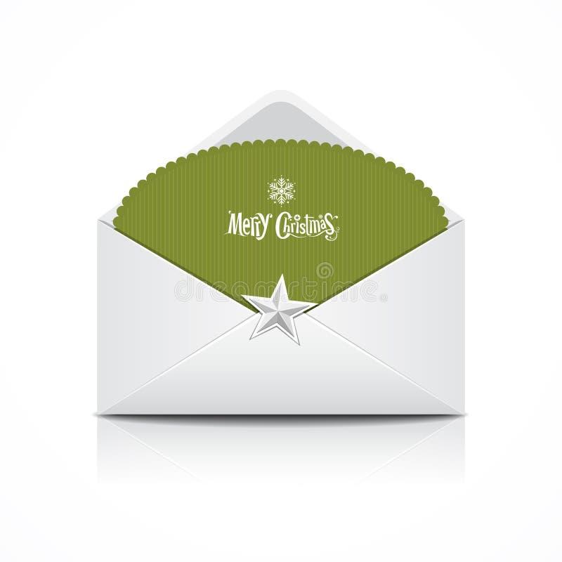 Envelop en groene kaart vrolijke Kerstmis stock illustratie