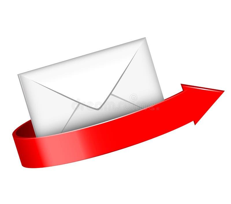Envelop en rode pijl royalty-vrije illustratie