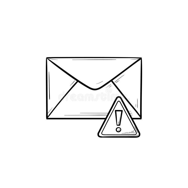 Envelop en uitroep de krabbelpictogram van het tekenhand getrokken overzicht vector illustratie