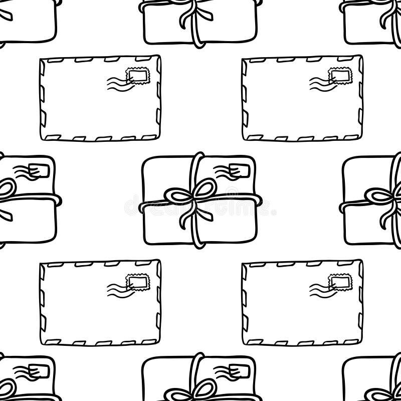 Envelop en van de pakketten naadloos post patroon stock illustratie