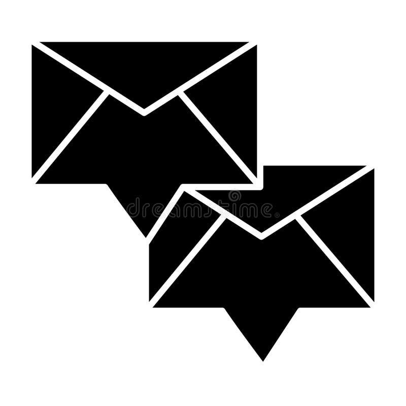 Envelop met binnenkomend bericht stevig pictogram Twee nieuwe berichten vectordieillustratie op wit wordt geïsoleerd E-mail glyph vector illustratie